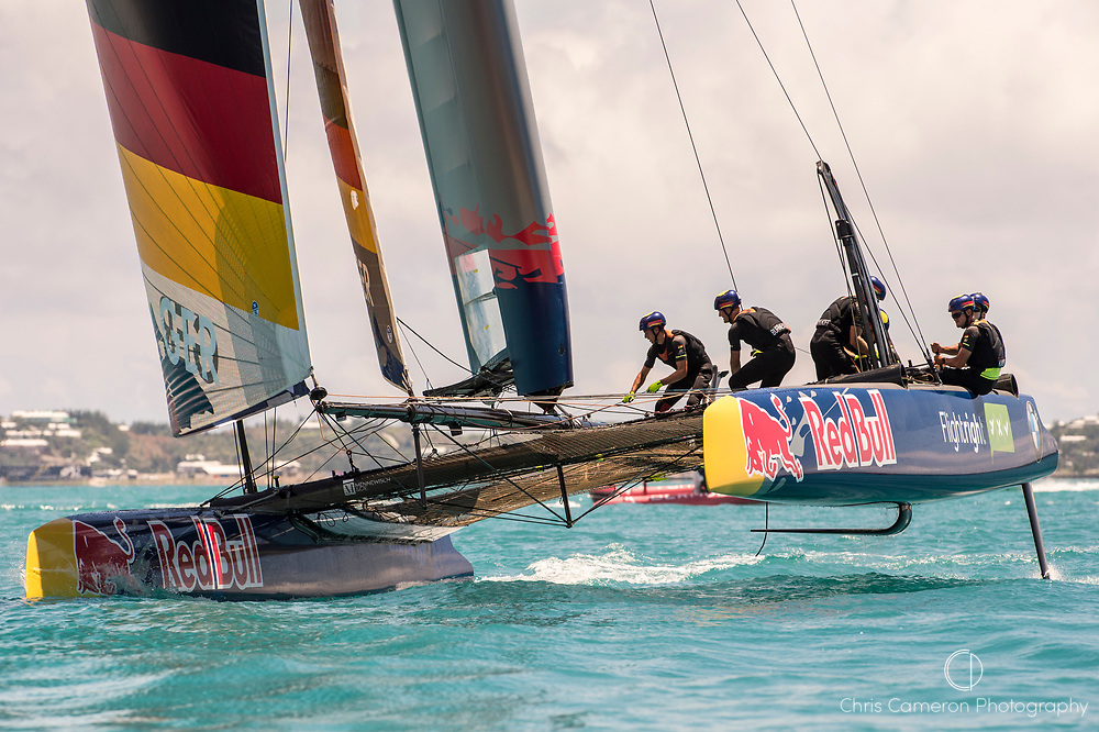 Great Sound, Bermuda. 15th June 2017. Red Bull Youth America's Cup. Race 1 of Qualifier 2 (Group A). Kaijin Team Japan.. SVB Team Germany.