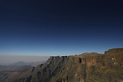 View across the Amphitheatre in the Drakensberg mountains of South Africa. Known as uKhahlamba in Zulu which means barrier of the spears. The mountains form a barrier between South Africa and Lesotho and are a world heritage site. The largest proportion of the Drakensberg area falls in the province of KwaZulu-Natal.