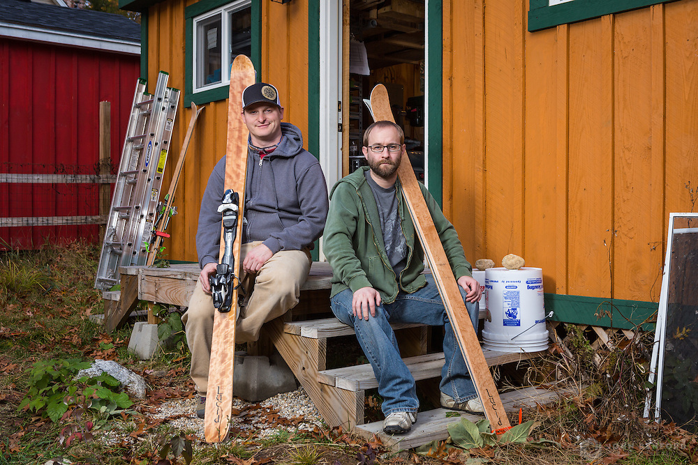 EJ Martin (l) and Travis Legassie, owners of Lucid Skis outside their workshop in Gray.