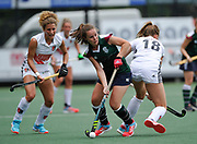 Surbiton's Alice Sharp challenges with Amsterdam's Sterre Deetman during the bronze medal match at the EHCC 2017 at Den Bosch HC, The Netherlands, 5th June 2017