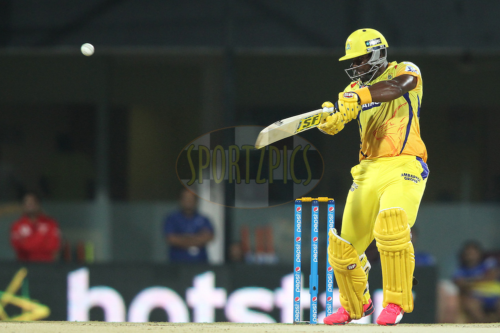 Dwayne Smith of Chennai Super Kings square cuts a delivery to the boundary during match 43 of the Pepsi IPL 2015 (Indian Premier League) between The Chennai Super Kings and The Mumbai Indians held at the M. A. Chidambaram Stadium, Chennai Stadium in Chennai, India on the 8th May April 2015.<br /> <br /> Photo by:  Shaun Roy / SPORTZPICS / IPL