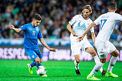 Manor Solomon of Israel and Rene Krhin of Slovenia during the 2020 UEFA European Championships group G qualifying match between Slovenia and Israel at SRC Stozice on September 9, 2019 in Ljubljana, Slovenia. Photo by Grega Valancic / Sportida