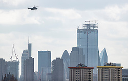© Licensed to London News Pictures. 03/06/2019. London, UK. Marine One carrying US President Donald Trump flies over central London as he starts his State Visit to the United Kingdom. During his three days in the UK he will meet with members of the Royal family and outgoing Prime Minister Theresa May before attending 75th Anniversary of D-Day commemorations in Portsmouth and France. Photo credit: Peter Macdiarmid/LNP