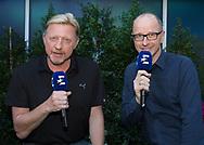 Eurosport Kommentatoren BORIS BECKER und MATTHIAS STACH im Gesparaech, Mikrofon,Portrait,<br /> <br /> Australian Open 2017 -  Melbourne  Park - Melbourne - Victoria - Australia  - 26/01/2017.