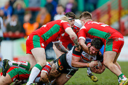 Bradford Bulls prop Calum Bustin (15) tackled during the Betfred League 1 match between Keighley Cougars and Bradford Bulls at Cougar Park, Keighley, United Kingdom on 11 March 2018. Picture by Simon Davies.