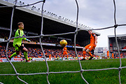 14th April 2018, Tannadice Park, Dundee, Scotland; Scottish Championship football, Dundee United versus Falkirk; Thomas Mikkelsen of Dundee United scores for 1-0