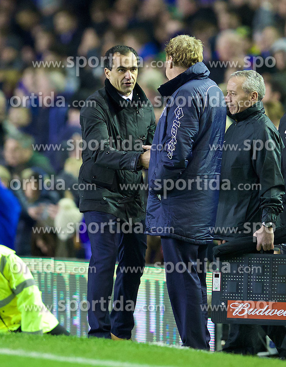 04.01.2014, Goodison Park, Liverpool, ENG, FA Cup, FC Everton vs Queens Park Rangers, 3. Runde, im Bild Everton's manager Roberto Martinez shakes hands with Queens Park Rangers' manager Harry Redknapp after the 4-0 victory // during the English FA Cup 3rd round match between Everton FC and Queens Park Rangers at the Goodison Park in Liverpool, Great Britain on 2014/01/04. EXPA Pictures &copy; 2014, PhotoCredit: EXPA/ Propagandaphoto/ David Rawcliffe<br /> <br /> *****ATTENTION - OUT of ENG, GBR*****