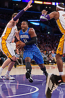 02 December 2012: Forward (11) Glen Davis of the Orlando Magic drives to the basket against the Los Angeles Lakers during the first half of the Magic's 113-103 victory over the Lakers at the STAPLES Center in Los Angeles, CA.