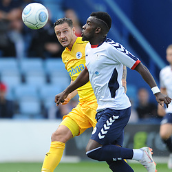 TELFORD COPYRIGHT MIKE SHERIDAN 25/8/2018 - Simon Grand  of Chester(formerly of AFC Telford) and Amari Morgan-Smith of AFC Telford during the Vanarama Conference North fixture between AFC Telford United and Chester City.