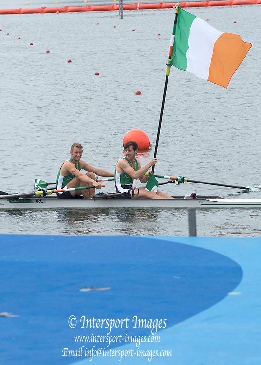 Rio de Janeiro. BRAZIL. Lightweight men's double sculls, Silver Medalist, IRL LM2X. <br /> Gary  O'DONOVAN and Paul O'DONOVAN, Paul 2016  2016 Olympic Rowing Regatta. Lagoa Stadium, Copacabana,  &ldquo;Olympic Summer Games&rdquo; Rodrigo de Freitas Lagoon, Lagoa. Local Time 16:37:19  Friday  12/08/2016 <br /> [Mandatory Credit; Peter SPURRIER/Intersport Images]