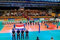 05-04-2017 NED:  CEV U18 Europees Kampioenschap vrouwen dag 4, Arnhem<br /> Nederland - Turkije 3-1 / Nederland doet zeer goede zaken en kan zich met winst op Italië zeker stellen van een halve finaleplaats - Line up volksliederen