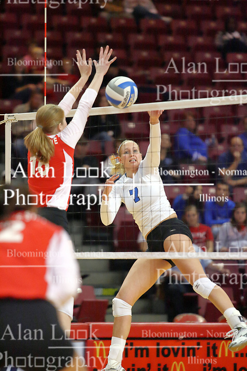 29 October 2011: Shannon McGlaughlin attempts to block a strike by Megan Bober During a match between the Creighton Bluejays and the Illinois State Redbirds at Redbird Arena in Normal Illinois