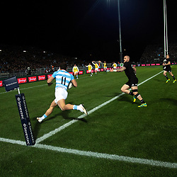 Argentina's Ramiro Moyano scores during the Rugby Championship match between the New Zealand All Blacks and Argentina Pumas at Trafalgar Park in Nelson, New Zealand on Saturday, 8 September 2018. Photo: Dave Lintott / lintottphoto.co.nz