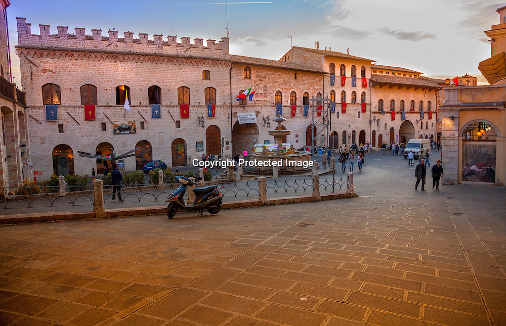 The town square in Assisi. Notice the papal flags and the Feast of St. Francis flags on the ancient buildings. We feel the excitement of of the locals that Pope Francis will be visiting Assisi for the Feast of St. Francis celebrations.
