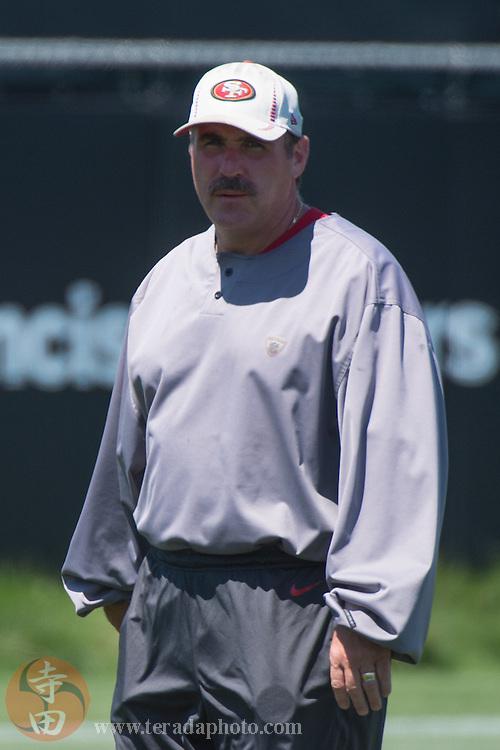 July 24, 2014; Santa Clara, CA, USA; San Francisco 49ers defensive line coach Jim Tomsula during training camp at the SAP Performance Facility.