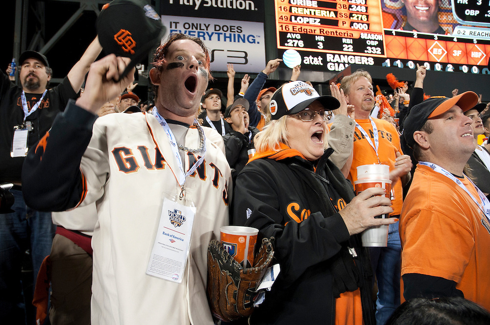 SAN FRANCISCO - OCTOBER 27: Fans of the San Francisco Giants cheer on their team against the Texas Rangers in Game One of the 2010 MLB World Series at AT&T Park on October 27, 2010 in San Francisco, California. The Giants defeated the Rangers 11 to 7. ( Photo by: Rob Tringali) *** Local Caption ***