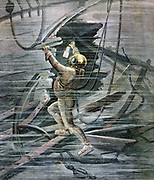 Diver in diving suit inspecting a wreck at Le Havre, France.  From 'Le Petit Journal', Paris, 13 February 1892.