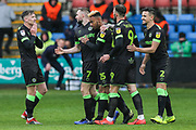 Forest Green Rovers Junior Mondal(25) scores a goal 1-2 and celebrates during the EFL Sky Bet League 2 match between Crewe Alexandra and Forest Green Rovers at Alexandra Stadium, Crewe, England on 27 April 2019.