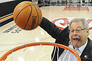 "The Atlanta Hawks CEO Steve Koonin ""stuffs"" a basketball at the Hawks practice facility."
