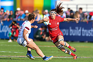 Karen Paquin of Canada in action<br /> <br /> Photographer Craig Thomas/Replay Images<br /> <br /> World Rugby HSBC World Sevens Series - Day 2 - Friday 6rd December 2019 - Sevens Stadium - Dubai<br /> <br /> World Copyright © Replay Images . All rights reserved. info@replayimages.co.uk - http://replayimages.co.uk