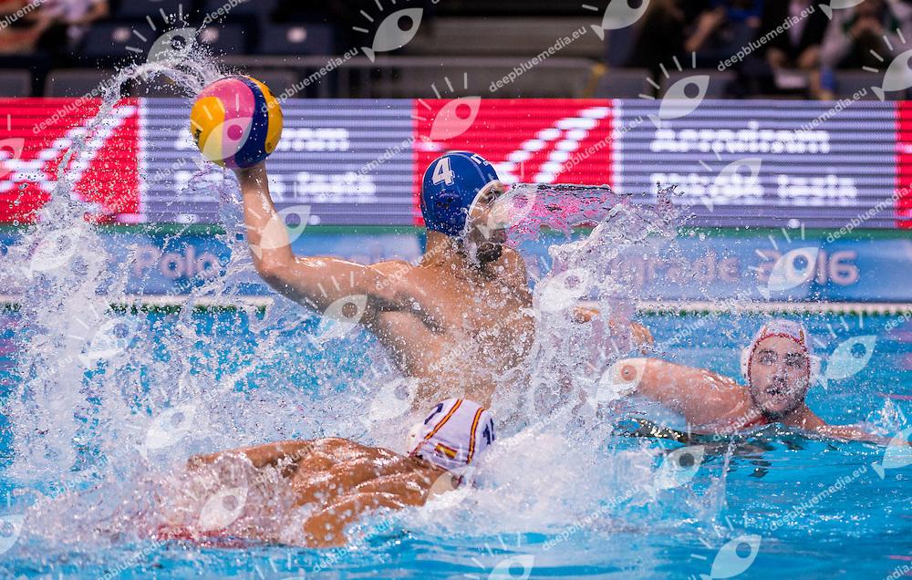 LEN European Water Polo Championships 2016<br /> Spain ESP (White) Vs Italy ITA (Blue)<br /> Men<br /> 4 FIGLIOLI Pietro ITA<br /> Kombank Arena, Belgrade, Serbia <br /> Day14 23-01-2016<br /> Photo G.Scala/Insidefoto/Deepbluemedia