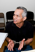 Pedro Pimentel Rios, a former member of the Guatemalan military Kabiles Squadron at his first preliminary court meeting. The judge ruled that he should stand trial for his alleged part in the 1982 massacre of over 200 members of the community of Las Dos Erres. <br /> In 2012 he was sentenced to 6,060 years for his part in the massacre of 201 members of the community of Las Dos Erres. <br /> Guatemala City, Guatemala 2011.