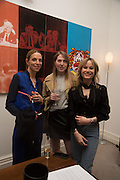 TIPHANIE DE LUSSIS; NAOMI SMART; JULIA HOBBS, Stefania Pramma launched her handbag brand PRAMMA  at the Kensington residence of her twin sister, art collector Valeria Napoleone.. London.  29 April 2015