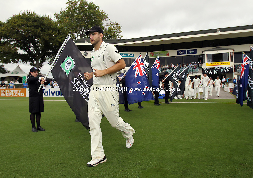 Captain Daniel Vettori leads his team onto the field for his &quot;100th&quot; test match.<br />