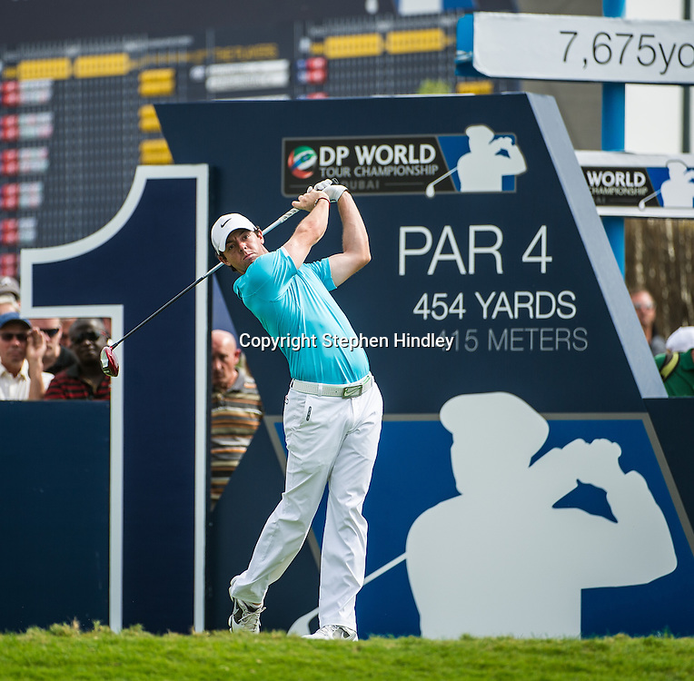 Rory McIlroy of Northern Ireland tees off at the start of his final round of the DP World Tour Championship held at the Jumeirah Golf Estates in Dubai, United Arab Emirates, on Sunday, November 17, 2013.  Photo by: Stephen Hindley/SPORTDXB