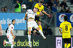 Tadej Trdina of WAC vs Sokratis Papastathopoulos of Borussia Dortmund during football match between WAC Wolfsberg (AUT) and  Borussia Dortmund (GER) in First leg of Third qualifying round of UEFA Europa League 2015/16, on July 30, 2015 in Wörthersee Stadion, Klagenfurt, Austria. Photo by Vid Ponikvar / Sportida
