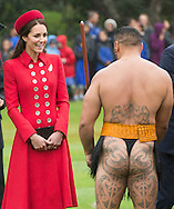 Prince William, Duke of Cambridge and Catherine, Duchess of Cambridge receive an official welcome at Government House in Wellington on their tour of New Zealand and Australia.