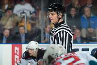 KELOWNA, BC - JANUARY 8: Line official Jade Portman stands at center ice to drop the puck between the Kelowna Rockets and the Victoria Royals at Prospera Place on January 8, 2020 in Kelowna, Canada. (Photo by Marissa Baecker/Shoot the Breeze)