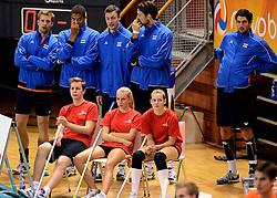 06-10-2013 VOLLEYBAL: WK KWALIFICATIE MANNEN NEDERLAND - ROEMENIE: ALMERE<br /> Nederland WINT met 3-0 van Roemenie en is daarmee groepswinnaar en plaatst zich voor de volgende ronde / (L-R) Jelte Maan, Nimir Abdelaziz , Jeroen Rauwerdink, Thomas Koelewijn, Niels Klapwijk<br /> ©2013-FotoHoogendoorn.nl