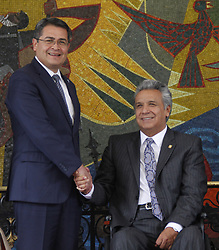 October 13, 2017 - Quito, Pichicnha, Ecuador - Honduras' President Juan Orlando Hernandez, left, and Ecuador's President Lenin Moreno, pose for a photo in the Palace of Carondelet during a state visit, in Quito, Ecuador, October 13, 2017. (Credit Image: © Gabriela Mena/NurPhoto via ZUMA Press)