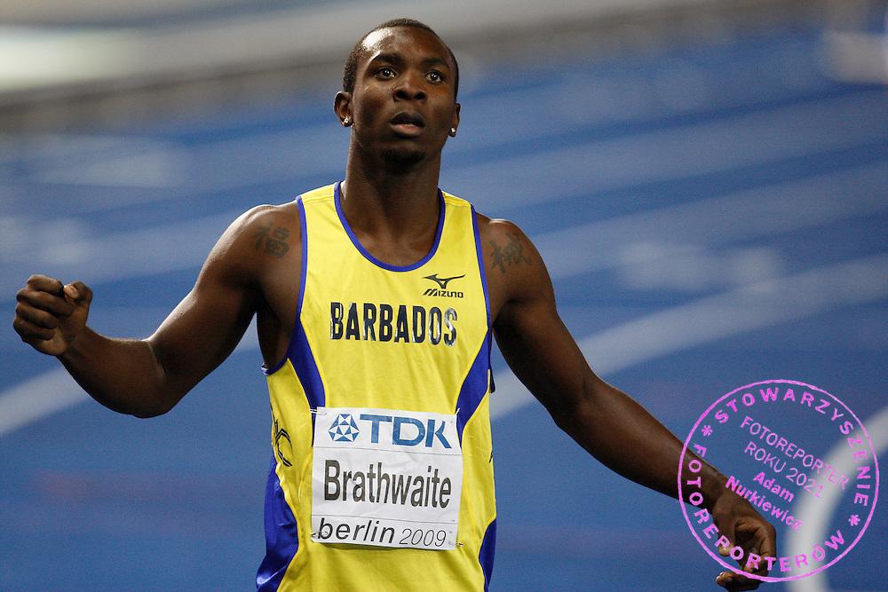 BERLIN 20/08/2009.12th IAAF World Championships in Athletics Berlin 2009.Ryan Brathwaite of Barbados celebrates winning the gold medal in the Men's 110m Hurdles race during the World Athletics Championships in Berlin.Phot: Piotr Hawalej / WROFOTO