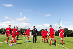 WREXHAM, WALES - Tuesday, August 13, 2019: Wales' Under 15 Head coach Richard Williams with the players during the pre-match warm-up before the UEFA Under-15's Development Tournament match between Wales and Cyprus at Colliers Park. (Pic by Paul Greenwood/Propaganda)