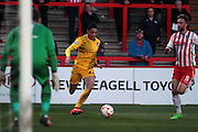 Bristol Rovers No 2 Daniel Leadbitter bears down on goal in the Sky Bet League 2 match between Stevenage and Bristol Rovers at the Lamex Stadium, Stevenage, England on 19 April 2016. Photo by Nigel Cole.
