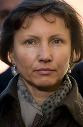 © London News Pictures. 02/11//2012. London, UK.  Marina Litvinenko, the wife of  former KGB agent Alexander Litvinenko arriving at  Camden Town Hall in London for a pre inquest hearing in to the death of her husband in 2006. Mr Litvinenko, 43, an ex-KGB agent  who ?ed to Britain in 2000, was allegedly  poisoned by radioactive polonium-210  while drinking tea during a meeting with former security colleagues at the Millennium Hotel in London in 2006. Photo credit: Ben Cawthra/LNP.