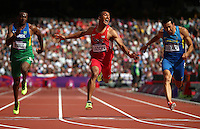 Ashton Eaton, of the U.S., crosses the finish line during the 100-meter portion of the men's decathlon at the 2012 Summer Olympic Games in London, Aug. 8, 2012. (Jed Jacobsohn/The New York Times) ...