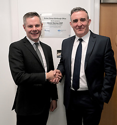 Derek Mackay visit, Wednesday, 18th December 2019<br /> <br /> Economy Secretary Derek Mackay today visited Emtec Group in Ratho Station to officially open their new office and comment on the latest GDP statistics.<br /> <br /> Pictured: Scottish Government Economy Secretary Derek Mackay with Emtec Group CEO Scott Stevenson <br /> <br /> Alex Todd | Edinburgh Elite media