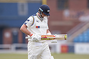 Yorkshire Batsman Joe Root is out caught  for 213 during the Specsavers County Champ Div 1 match between Yorkshire County Cricket Club and Surrey County Cricket Club at Headingley Stadium, Headingley, United Kingdom on 10 May 2016. Photo by Simon Davies.