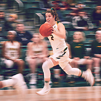 4th year guard, Michaela Kleisinger (2) of the Regina Cougars during the Women's Basketball Home Game on Fri Nov 30 at Centre for Kinesiology,Health and Sport. Credit: Arthur Ward/Arthur Images