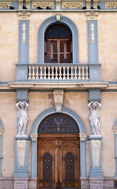 Casa Armstrong-Poventud, a neo-classical style mansion on Plaza de Las Delicias in Ponce, Puerto Rico..