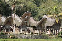 Indonesie. Sulawesi (Celebes). Pays Toraja, Tana Toraja. Maison toraja (tongkonan) au village de Ke'te Kesu.// Indonesia. Sulawesi (Celebes Island). Tana Toraja. Traditional house (tongkoman) at Ke'te Kesu.