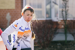 Anouska Koster gets ready to race.