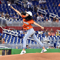 Jun 22, 2017; Miami, FL, USA; Actress Scarlet Gruber throws out the first pitch before a game between the Chicago Cubs and the Miami Marlins at Marlins Park. Mandatory Credit: Steve Mitchell-USA TODAY Sports