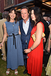 Samantha Cameron, David Cameron and Emily Sheffield at the Victoria & Albert Museum's Summer Party in partnership with Harrods at The V&A Museum, Exhibition Road, London, England. 20 June 2018.