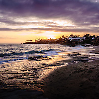 Laguna Beach California sunset. Laguna Beach is a Southern California beach city along the Pacific Ocean in Orange County.