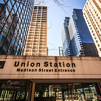 Photo of Chicago Union Station Madison Street Entrance with office buildings in downtown Chicago.