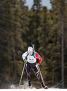 Andrew Chisholm skis in IBU Cup #7 biathlon sprint at the Canmore Nordic Centre in Canmore, Alberta on March 1, 2015